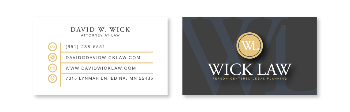 David Wick Law - Person Centered Legal Planning Business Card Design