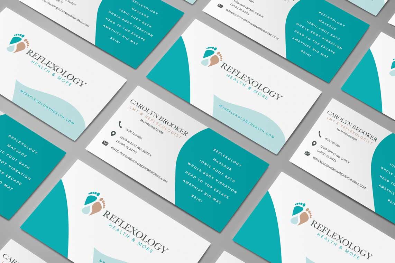 Reflexology Health and More Medical Wellness Business Card Design Branding